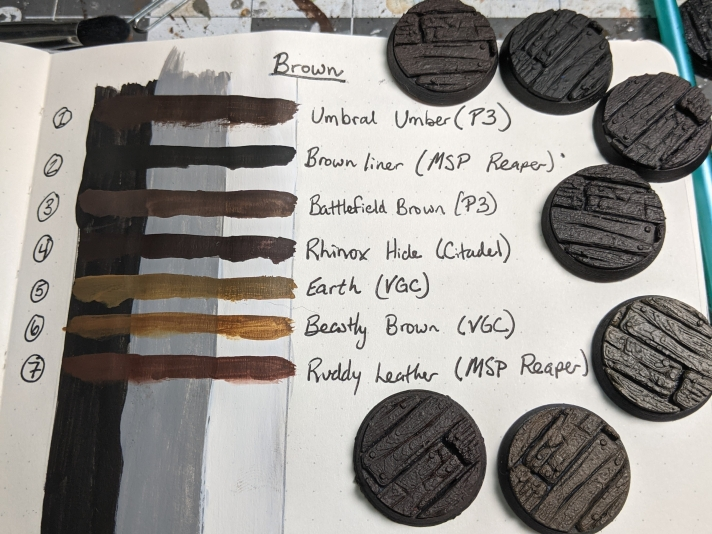 Wood Bases showing extreme dark wood colors which are almost unnoticeable