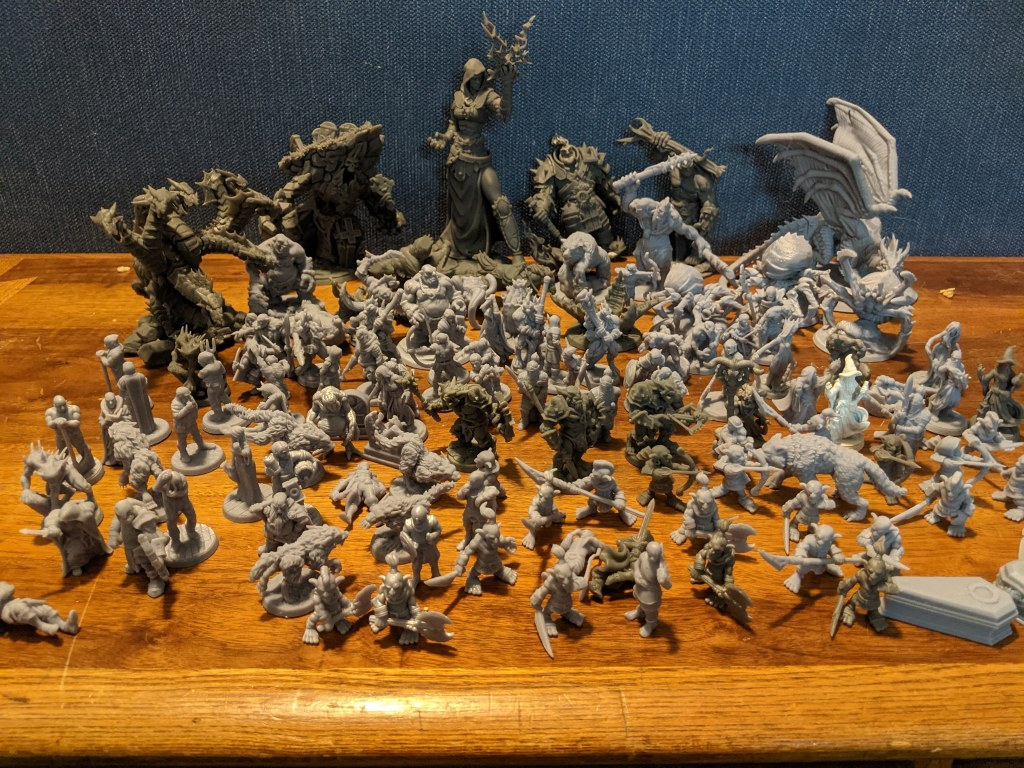 Group Image of all Miniatures printed so far for the Lost Adventures Volume 1 Kickstarter project.